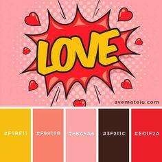 Pop art color palette for design and illustrations Red Colour Palette, Palette Art, Colour Schemes, Color Combos, Pop Art Colors, Colours, Apartment Color Schemes, Pop Art Fashion, Color Harmony