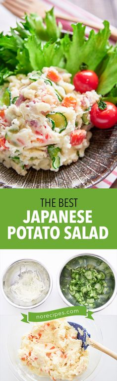 Japanese potato salad With sweet carrots, crunchy cucumbers, pungent onions and savory ham, this easy Japanese-style potato salad is colorful and delicious! Easy Japanese Recipes, Asian Recipes, Ethnic Recipes, Asian Foods, Japanese Potato Salad, Lunch Recipes, Cooking Recipes, Sweet Carrot, Side Salad