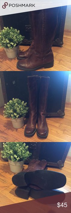 Real Leather Nicole riding boots size 5.5 Leather brown riding boots size 5.5. Great condition, distressed look. Perfect for fall! Cute braided detail. Always happy to consider offers! Nicole Shoes Winter & Rain Boots