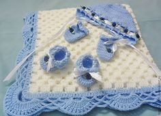 baby blanket. INSPIRATION   I am sure there are quite a few people who could recreate this beautiful four piece baby set, there is no pattern but I'm positive you can do this just by looking at the stitches--Happy New Year--db