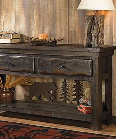 The one-of-a-kind Barnwood Bear Scene Table truly defines rustic elegance as a server, sofa table or flat screen tv console. Black Bear Decor, Black Forest Decor, Rustic Coffee Tables, Rustic Table, Western Style, Country Decor, Rustic Decor, Rustic Signs, Adirondack Decor
