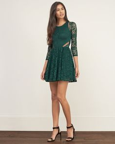 Womens Lace Skater Dress | Womens Dresses & Rompers | Abercrombie.com