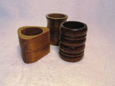 Wooden napkin rings- love that they are all different.