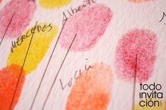 huellas del cuadro de firmas de invitados http://www.todoinvitacion.com/products-page/cuadros-de-firmas-con-huellas/