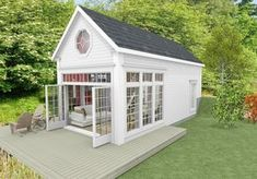 New England hus med sjöutsikt New England Hus, New England Cottage, Backyard Office, Backyard Sheds, Small Pool Houses, Enclosed Gazebo, Minimal House Design, Greenhouse Shed, Studio Shed