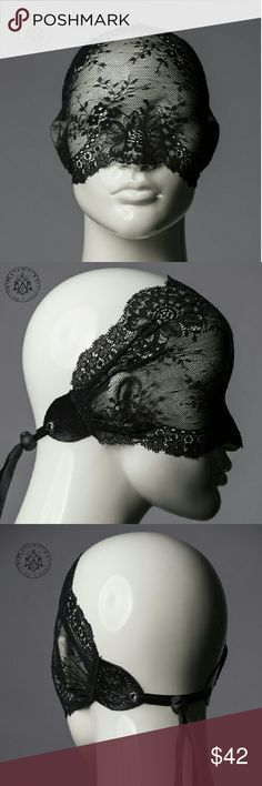 Black Lace Masquerade Mask Full/Half Get noticed incognito with this unique & versatile lace mask.   worn only once for masquerade party no tears/rips  handmade in Denmark/Europe highest quality lace mask found on market perfect for Halloween  Works as a full face veil, half face mask, or wide lace headband turban. You can see through the fabric well. Made of beautiful stretchy lace, lace is ruched and then thoroughly secured with leather. In the back the mask can be conveniently adjusted to…