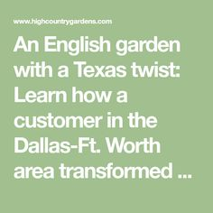 An English cottage garden with a Texas twist: Learn how a customer in the Dallas-Ft. Worth area transformed his yard by getting rid of water loving Bermuda grass and replacing it with a water-thrifty perennial garden. High Country Gardens, Lab, Bermuda Grass, Garden Totems, Border Plants, Texas Gardening, Hardy Plants, Drought Tolerant, Native Plants