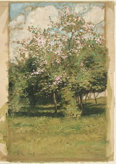 heaveninawildflower:'Blossoming Trees' (1882). Watercolour on brown paper by Childe Hassam  (1859–1935).Image and text courtesy MFA Boston.