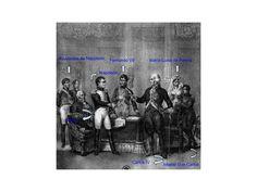 """Grabado histórico que representa las Abdicaciones de Bayona(5 de Julio de 1808),donde Carlos IV abdica a favor de Napoleón,este reunió a Carlos IV y a su hijo Fernando VII en Bayona (Francia), ellos confiaron en Napoleón y abdicaron en él.El objetivo de Napoleón era conquistar España ,aprovechó los problemas internos entre Carlos IV y su hijo para nombrar rey a su hermano José Bonaparte tras el """"Motín de Aranjuez"""", esto fue uno de los factores que provocó la guerra de la independencia."""