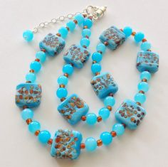 Gift for Mom or Grandma Necklace Magnetic Clasp Beach Sand Beads Matching Earrings & Stretch Bracelet Available