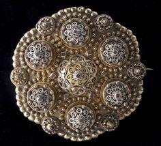 Large shield-based brooch, Silver with a gold wash, Hjartdal, Telemark, Norway, 1890-1900. Ethnic Jewelry, Antique Jewelry, Silver Jewelry, Gold Wash, Clever Design, My Heritage, All Art, Norway, Art Nouveau