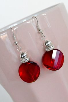 Red Crystal Drop Earrings by DebbieRenee on Etsy, $14.00