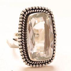 WHITE-TOPAZ-GEMSTONE-925-SILVER-JEWELRY-RING-9-25 Sterling Silver Jewelry, 925 Silver, Topaz Gemstone, White Topaz, Jewelry Rings, Gemstones, Handmade, Hand Made, Gems