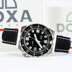 """1980's DOXA Swiss Aubry SUB 600 Lm """"Sharkunter Black"""" Diver Watch - Box & Papers Vintage Dive Watches, Paper Jewelry, Watch Box, Diving, Auction, Amp, Accessories, Ebay, Black"""