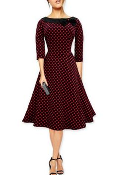 Vintage Slash Neck Polka Dot Print Bowknot Design 3/4 Sleeve Dress For Women