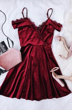 Burgundy Spaghetti Short Dress,Chic Evening Dress,Fashion Homecoming Dress,Party Dress - Party Dresses and Party Outfits Pretty Dresses, Beautiful Dresses, Elegant Dresses, Simple Dresses, Red Velvet Dress, Dress Red, Lace Homecoming Dresses, Velvet Homecoming Dress, Wedding Dresses