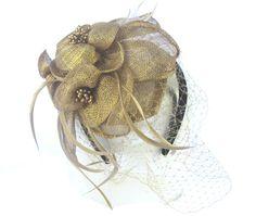 ce3327cc Cocktail Fashion Sinamay Fascinator Hat Flower Design & Net (Metic Gold):  Amazon.co.uk: Clothing
