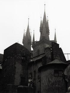 Old Prague, towers of the Theyn Church   photo by Jan Parik, 1960