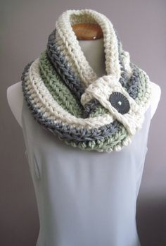 Cowl Button Chunky Bulky Crochet Cowl:  Gray, Sage Green and Off White with Black Button