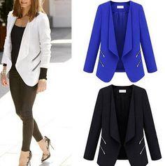 Womens Lapel Formal Dress Suit Blazer Slim Fit Career Coat Bodycon Jacket I232