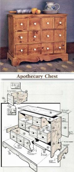 Apothecary Chest Plans - Furniture Plans and Projects   WoodArchivist.com #woodworkingplans #WoodWorkingPlansFurniture