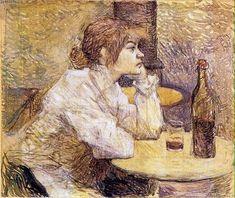 Henri de Toulouse-Lautrec, The Hangover (Portrait of Suzanne Valadon). Henri De Toulouse Lautrec, Art Van, Vincent Van Gogh, Baroque Period Art, Best Painting Ever, Cafe Concert, Artist Van Gogh, Renoir Paintings, Harvard Art Museum
