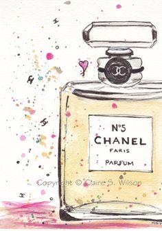 Chanel No 5 Original watercolor by claireswilson Chanel No 5, Chanel Bags, Chanel Handbags, Coco Chanel, Parfum Chanel, Arte Fashion, Fashion Painting, Illustration Art, Beauty Illustrations