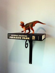 Jurassic Park Book re Purposed Into Wall Shelf w Dinosaurs Child Room Story | eBay