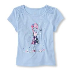 Short Sleeve Smocked Shoulder Graphic Top | The Children's Place