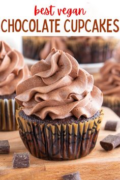 The best vegan chocolate cupcakes that are rich, moist, decadent and irresistible! The best chocolaty cakes that are dairy and egg free. #vegancake #vegancupcakes #veganchocolatecupcakes #vegancupcakerecipes Vegan Chocolate Frosting, Vegan Buttercream, Best Vegan Chocolate, Dairy Free Chocolate, Decadent Chocolate, Chocolate Flavors, Chocolate Desserts, Healthy Vegan Desserts, Vegan Dessert Recipes