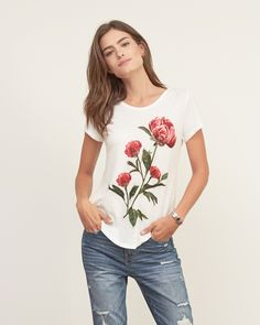 Womens Lace Split Hem Graphic Tee | Womens New Arrivals | Abercrombie.com