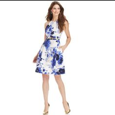 Sleeveless Floral Print Dress Perfect For Weddings