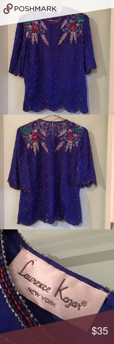 """Sequin Beaded Silk Top by Lawrence Kazar Sensational! Intricate beading and decoration. Size tag XL with approximate measurements: Bust 44""""; Waist 42""""; shoulder to shoulder of back 17""""; length of back 25"""". EUC! Lawrence Kazar Tops"""