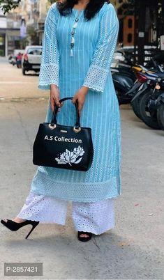 Pakistani dress design - Elegant Pure Cotton Chikankari Kurta And Palazzo Kurti Sleeves Design, Sleeves Designs For Dresses, Kurta Neck Design, Simple Kurti Designs, Kurta Designs Women, Blouse Designs, Pakistani Fashion Casual, Pakistani Dress Design, Indian Gowns Dresses