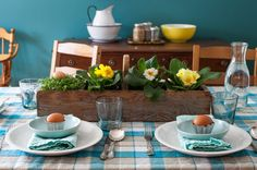 A simple Easter tablescape | Simple Bites #easter #blue #eggs #table #decor wall colour