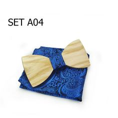 Set A Wooden Bow Ties With Pocket Square Set