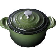 La Cuisine 4 In. Enameled Cast Iron Mini Covered Casserole, Green *** If you love this, read review @ : bakeware