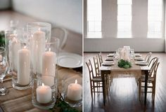 simple burlap, white candles in tall holders, with green accents. love it. and no cut flowers = less expensive and crazy.