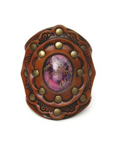 Leather Cuff Purple Imperial Jasper Stone Tooled Design Wide Boho Karen Kell Collection