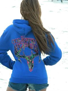 Country Life Outfitters Royal & Pink Camo Realtree Deer Skull Head Hunt Vintage Bright Hoodie