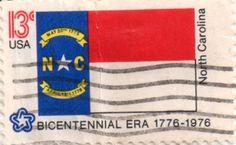 US postage stamp, 13 cents.  North Carolina.  Issued 1976.  Scott catalog 1644.