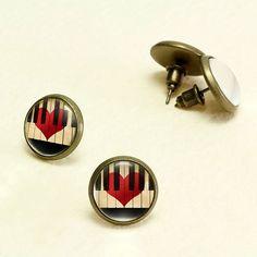 Piano Lover Stud Earrings. Piano Keys Earrings Studs. Glass Dome, Nickel Free Stud Earring, Antique Bronze Music Stud Earrings KSZ01R20K05B