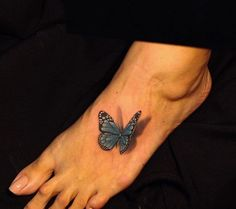 Butterfly Tattoo on Foot by Iron Dragon Tattoo