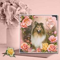 Beautiful rough collie dog decoupaged birthday card created for a very special friend #roughcollie #dogcardshandmade #crafty #cardmaking #decoupage #birthdaycards Rough Collie, Collie Dog, Dog Cards Handmade, Cardmaking, Decoupage, Birthday Cards, Crafty, Dogs, How To Make