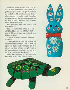 vintage papier-mâché Rabbit and Turtle from nytt med gamla tidningar (New With Old Newspapers)