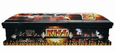 """KISS coffin : >>>      At this point KISS might be as well known for their merchandise as their music. For the truly die-hard fan who """"wants to rock and roll all night and party every day"""" the group has created the perfect send-off: a kiss casket. Sadly you'll have to scour eBay for this no-longer-produced item, but back in the day they sold for $4,700."""
