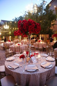 Beautiful Luxury Red Rose Themed Wedding Decor!  Red Wedding | Red Bridal Earrings | Red Wedding Jewelry | Spring wedding | Spring inspo | Gold | Red | Spring wedding ideas | Spring wedding inspo | Spring wedding mood board | Spring wedding flowers | Spring wedding formal | Spring wedding outdoors | Inspirational | Beautiful | Decor | Makeup |  Bride | Color Scheme | Tree | Flowers | Wedding Table | Decor | Inspiration | Great View | Picture Perfect | Cute | Candles | Table Centerpiece | Red…
