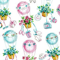 Vintage Gift Wrap Scrap Baby Shower Wrapping Paper by hensfeathers, $3.00