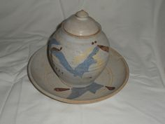 """Vintage 1981 Clay Pottery/Canadian Pottery by Canadian Potter/Signed by Potter """"RUTHERFORD"""" and dated in Ottawa, Canada Ottawa Canada, Serving Cart, Beige Background, Retro Art, Vintage Ceramic, Color Splash, Art Pieces, Etsy Seller, Pottery"""