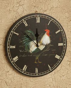 Country rooster wall clock with roman numerals on a dark background with rooster in center. Large wall clock with old country look. Great for the kitchen.